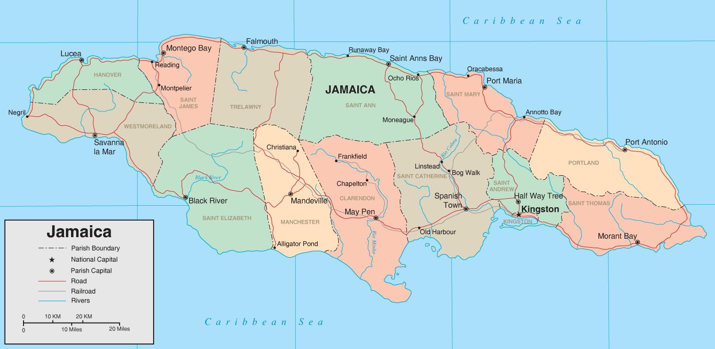 Polityczna Mapa Jamajki Mapy Polityczne Jamajke Karaiby Stany